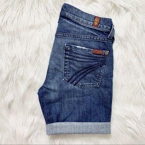 7FAM Dojo Roll Cuff Jean Shorts